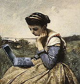 Blogging pose with computer